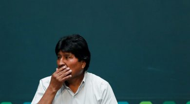 Bolivia's ousted president Evo Morales gestures during a ceremony at the town hall to receive a distinguished guest recognition by Mexico City's mayor Claudia Sheinbaum, in Mexico City