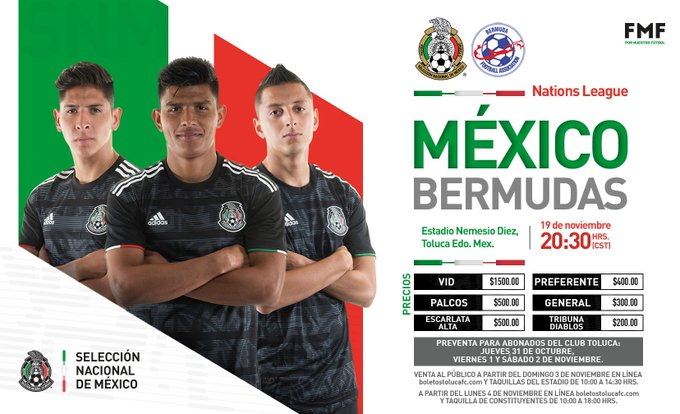 México vs Bermudas en Nations League